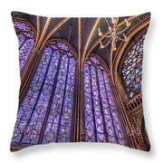 The Stained Glass Of La Sainte-chapelle Throw Pillow