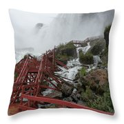 The Stairs To The Cave Of The Winds - Niagara Falls Throw Pillow