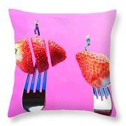 The Star On Strawberry Miniature Art Throw Pillow