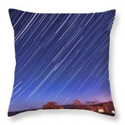 The Star Trail In Ithaca Throw Pillow