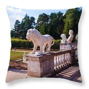 The Statues Of Archangelskoe Estate. Russia Throw Pillow