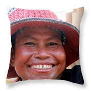 The Sticky Rice Lady Throw Pillow