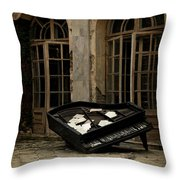 The Stone Sphere And Broken Grand Piano Throw Pillow