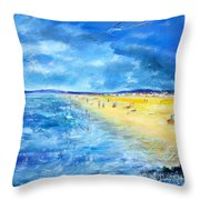 The Storm Arrives At The Beach Throw Pillow