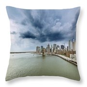 The Storm Over Manhattan Downtown Throw Pillow