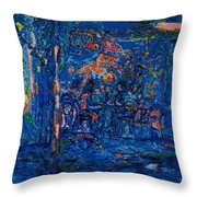 The Street Cafe Oil On Canvas Throw Pillow