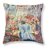 The Street Enters The House Throw Pillow by Umberto Boccioni