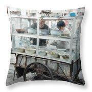 The Street Vendor Throw Pillow