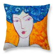 The Strength Of Grace Expressionist Girl Portrait Throw Pillow by Ana Maria Edulescu
