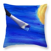 The Stroke Of The Brush Colors The Sky Throw Pillow