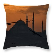 The Suleymaniye Mosque At Sunset Throw Pillow