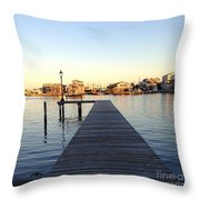 The Sun Begins To Set On Long Beach Island Throw Pillow