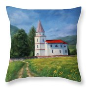 The Sunny Road Landscape With Field And Church Throw Pillow