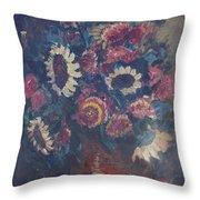 The Sunflower Bouquet Throw Pillow