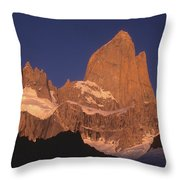The Sunrise Of Fire Mt Fitzroy Throw Pillow