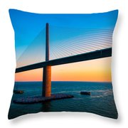 The Sunshine Under The Sunshine Skyway Bridge Throw Pillow by Rene Triay Photography