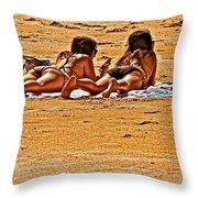 The Suntan Girls Throw Pillow
