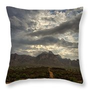 The Superstition Mountains After A Storm  Throw Pillow