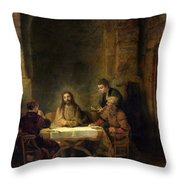 The Supper At Emmaus, 1648 Oil On Panel Throw Pillow