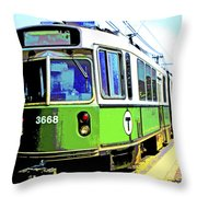 The T Trolley Car Boston Massachusetts 1990 Poster Throw Pillow