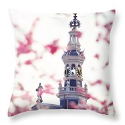 The Temple Bell Dies Away 1. Pink Spring In Amsterdam Throw Pillow