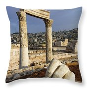 The Temple Of Hercules And Sculpture Of A Hand In The Citadel Amman Jordan Throw Pillow