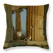 The Temple Of Poseidon. Paestum Throw Pillow