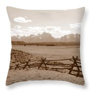 The Tetons In Sepia Throw Pillow