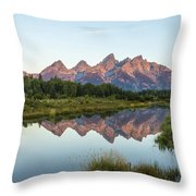 The Tetons Reflected On Schwabachers Landing - Grand Teton National Park Wyoming Throw Pillow
