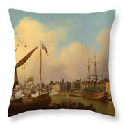 The Thames And Tower Of London On The King's Birthday Throw Pillow