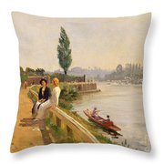 The Thames At Hampton Court Throw Pillow