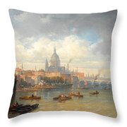 The Thames With Somerset House And St Pauls Cathedral Throw Pillow