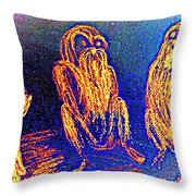 The Three Apes Are Discussing Important Matters  Throw Pillow
