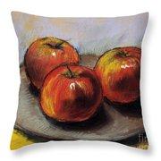 The Three Apples Throw Pillow