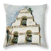 The Three-bell Campanario At Mission San Juan Bautista  Throw Pillow