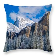 Cathederal Rocks And Bridalveil Throw Pillow