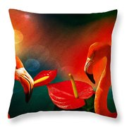 The Three Flamingos - Featured In 'feathers And Beaks' 'wildlife' And 'comfortable Art'  Groups Throw Pillow