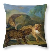 The Three Leopards Throw Pillow