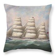 The Three-master Hahnemann In Full Sail Off A Headland Throw Pillow