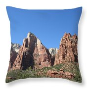 The Three Patriarchs - Zion Park Np Throw Pillow
