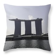The Three Towers Of The Marina Bay Sands In Singapore Throw Pillow