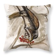 The Thrush Eating Cranberries Throw Pillow