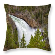 The Thundering Lower Yellowstone Falls Throw Pillow