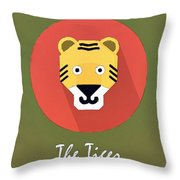 The Tiger Cute Portrait Throw Pillow
