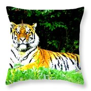 The Tiger In The Woods Throw Pillow