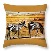 The Tired Zebras Throw Pillow