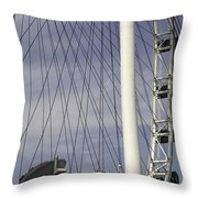 The Top Section Of The Marina Bay Sands As Seen Through The Spokes Of The Singapore Flyer Throw Pillow
