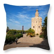 The Torre Del Oro, Gold Tower, Military Throw Pillow