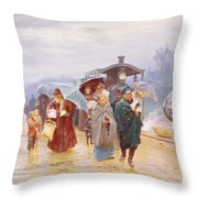 The Train Has Arrived, 1894 Throw Pillow