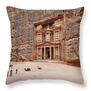 the treasury Nabataean ancient town Petra Throw Pillow by Juergen Ritterbach